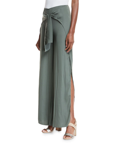 Buck Tie-Front Wide-Leg Pants