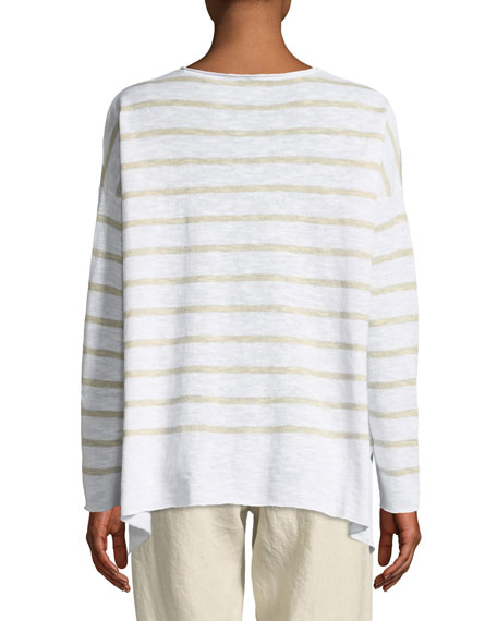 Striped Linen-Blend Slub Top, Petite