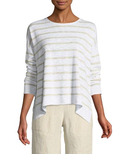 Striped Linen-Blend Slub Top, Petite