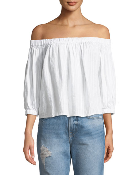 Embroidered Off-the-Shoulder Linen Top