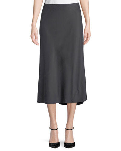 Silk Bias-Cut Midi Skirt