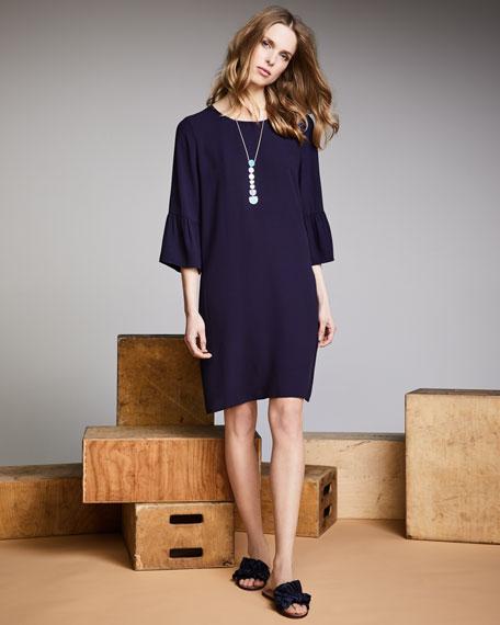 Flutter-Sleeve Silk Shift Dress