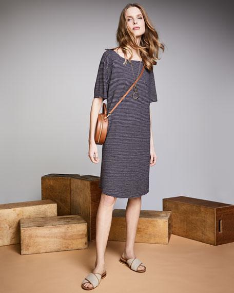 Striped Half-Sleeve Hemp-Blend Shift Dress