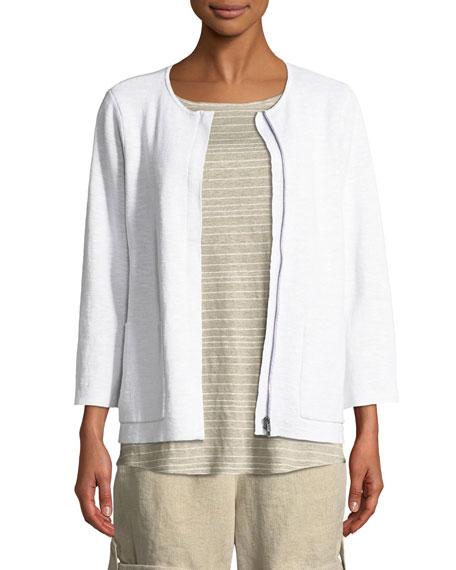 Eileen Fisher Organic Linen-Blend Zip-Front Cardigan