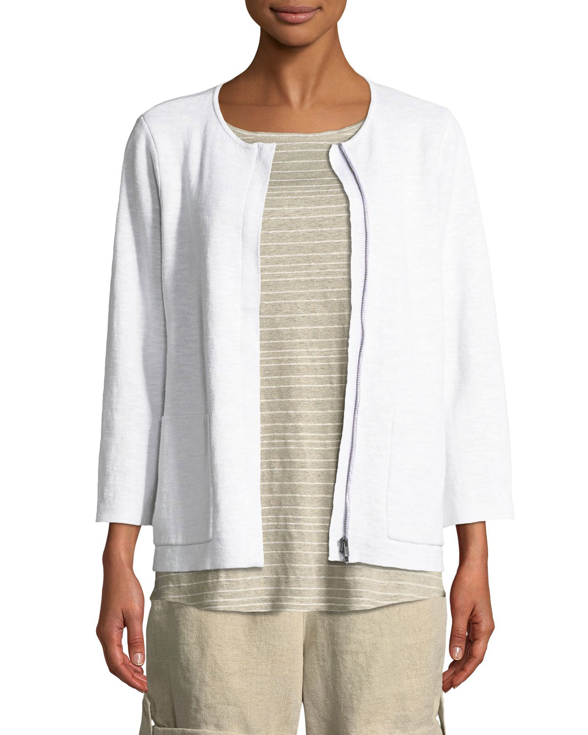 613eab6ab18 Eileen Fisher Organic Linen-Blend Zip-Front Cardigan and Matching ...