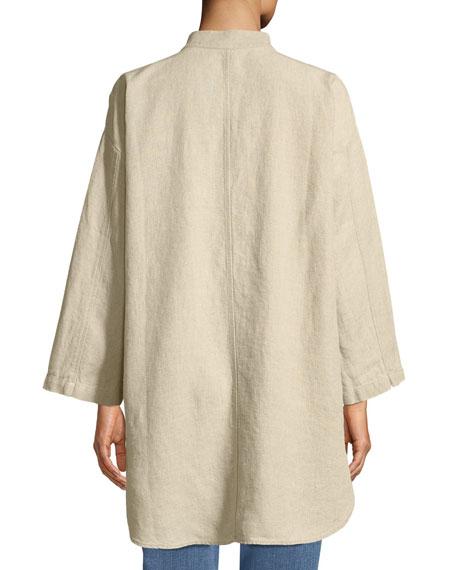 Organic Linen Mandarin-Collar Jacket, Plus Size