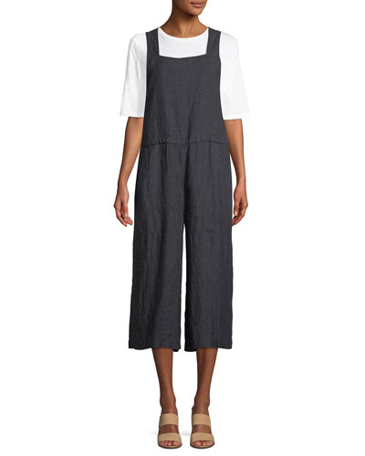 Linen Wide-Leg Cropped Overall Jumpsuit, Plus Size