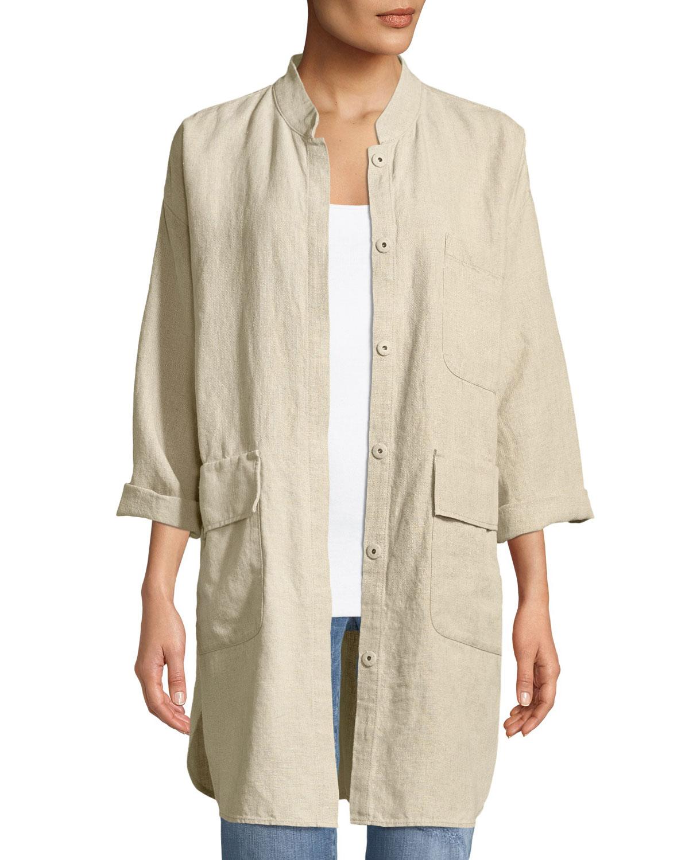b9723bd6280 Eileen Fisher Organic Linen Mandarin-Collar Jacket, Petite | Neiman ...