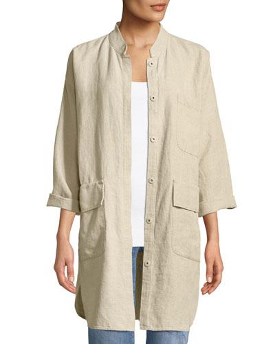 Organic Linen Mandarin-Collar Jacket