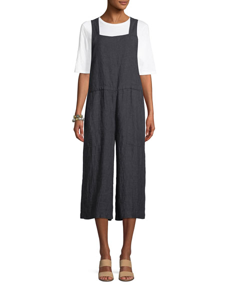 Linen Wide-Leg Cropped Overall Jumpsuit, Petite