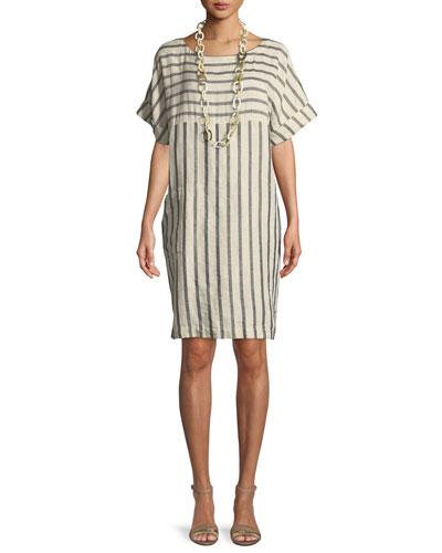 Striped Linen-Blend Shift Dress, Petite