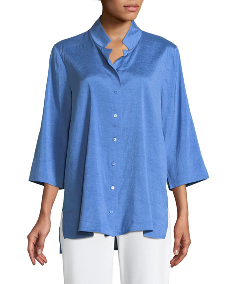 Eileen Fisher Doupioni Stand-Collar Silk Shirt, Plus Size