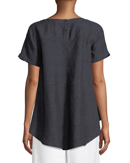 Denim Linen Flutter Top, Plus Size