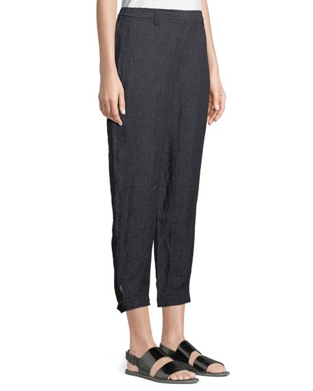 Denim-Wash Linen Ankle Pants