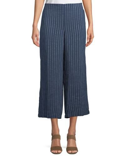 Pinstriped Denim Wide-Leg Cropped Pants, Petite