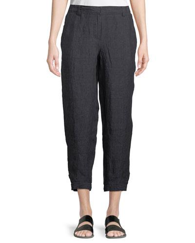 Denim-Wash Linen Ankle Pants, Petite