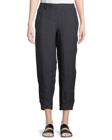 Eileen Fisher Denim-Wash Linen Ankle Pants, Petite