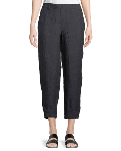 Denim-Wash Linen Ankle Pants, Plus Size