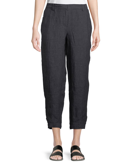 Eileen Fisher Denim-Wash Linen Ankle Pants, Plus Size