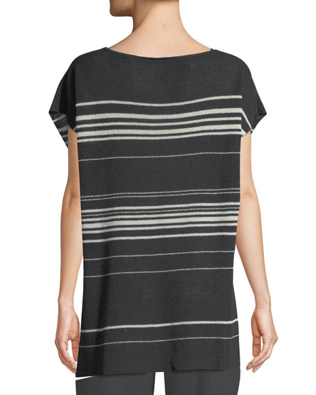 Striped Short-Sleeve Poncho Top, Petite