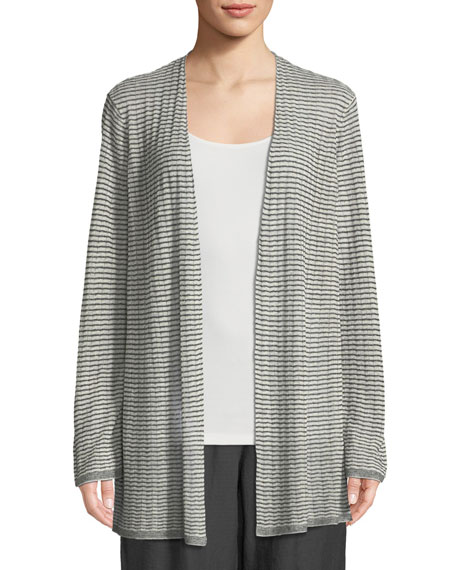 Eileen Fisher Organic Linen-Blend Striped Cardigan, Plus Size