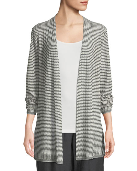 Organic Linen-Blend Striped Cardigan, Petite