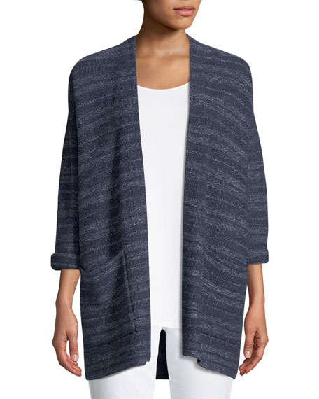 Eileen Fisher Striped Denim Kimono Cardigan, Petite