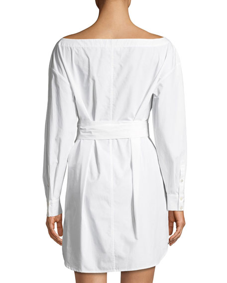 Button-Front Long-Sleeve Belted Poplin Dress