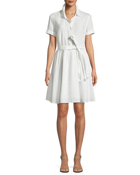 Short Sleeve Button Down Striped Linen Dress by Frame
