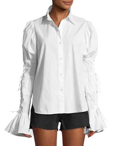Button-Down Lace-Up Sleeve Cotton Shirt