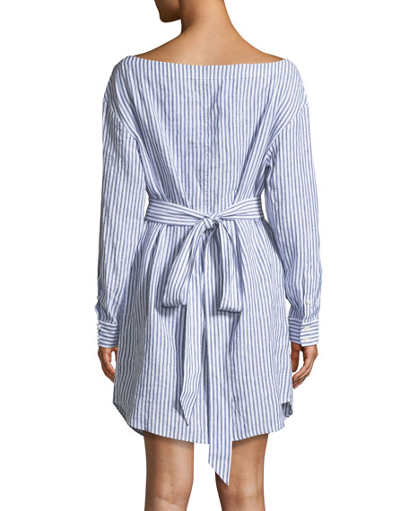 Striped V-Neck Button-Down Linen Dress