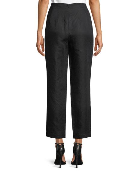 Overlap Knot Straight-Leg Linen Pants