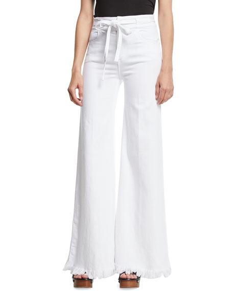FRAME Le Palazzo Belted Wide-Leg Pants w/ Raw-Edge
