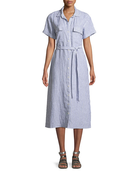 FRAME Button-Down Short-Sleeve Striped Linen Shirtdress