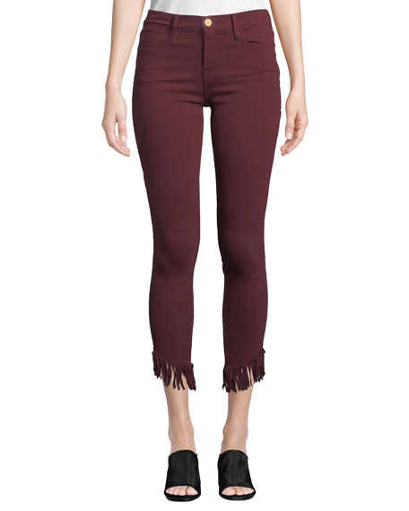 FRAME Le High Skinny Jeans w/ Shredded Raw