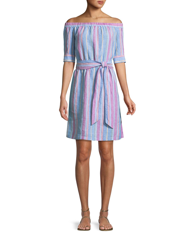 abea3e18d3 FRAME Off-the-Shoulder Striped Linen Dress