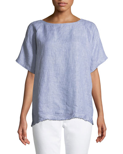 Check Linen Short-Sleeve Top, Petite