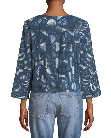 3/4-Sleeve Hand-Printed Jacket, Petite