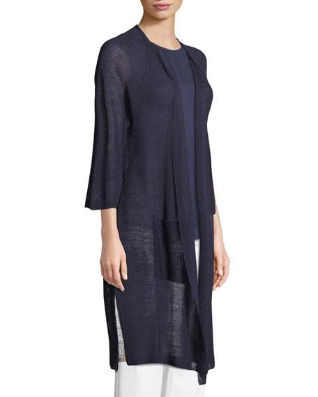 Linen-Blend Belted Cardigan