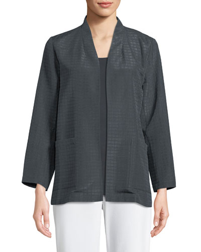Grid-Pattern Silk-Blend Jacket