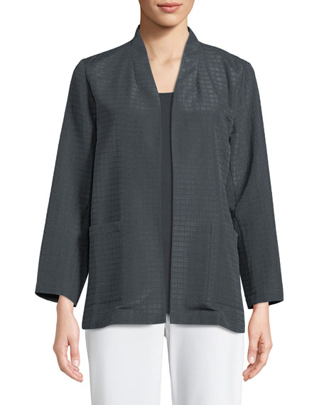 Eileen Fisher Grid-Pattern Silk-Blend Jacket