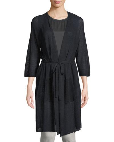 Linen-Blend Belted Cardigan, Petite