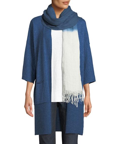 Heathered Linen-Blend Kimono-Sleeve Cardigan, Plus Size
