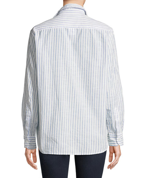Eileen Long-Sleeve Button-Down Classic Stripe Cotton Shirt
