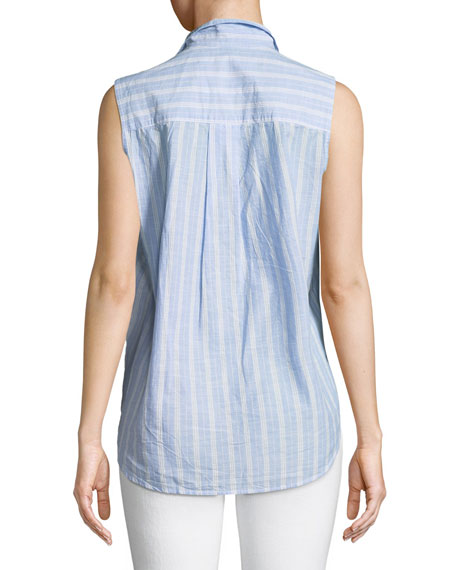 Fiona Sleeveless Striped Button-Down Shirt