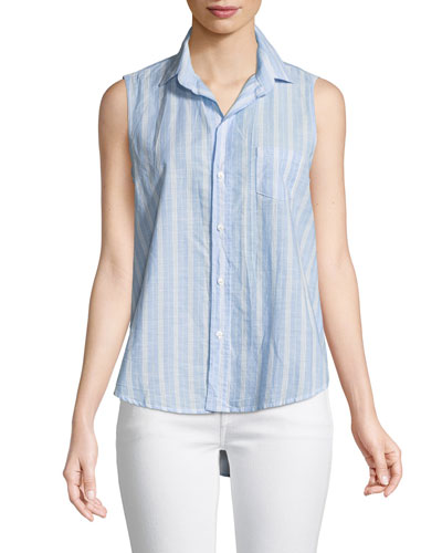 Fiona Sleeveless Striped Button-Down Shirt