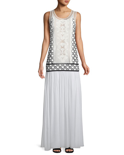 Helena Beaded Silk Georgette Drop-Waist Dress