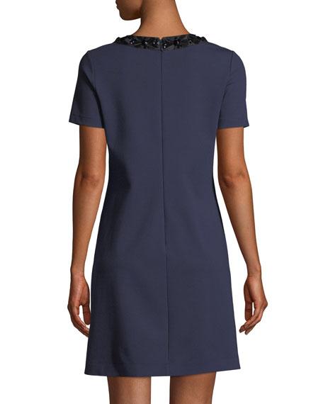 Ayla Embellished-Neck Ponte Dress