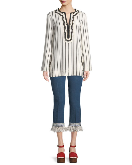 Tory Striped Embroidered-Trim Tunic