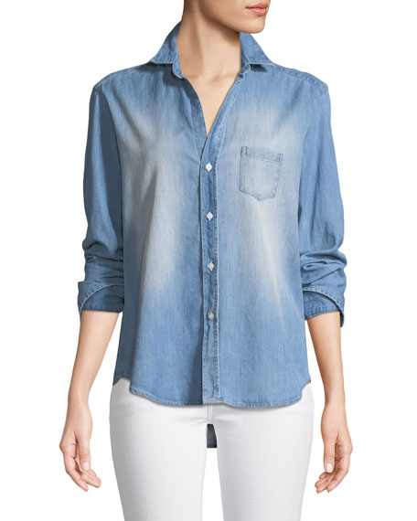 Eileen Long-Sleeve Button-Down Denim Shirt